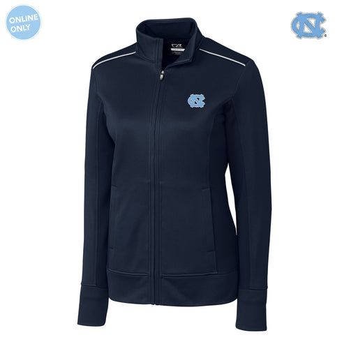 UNC Cutter & Buck Ladies Ridge Full Zip - Navy Blue