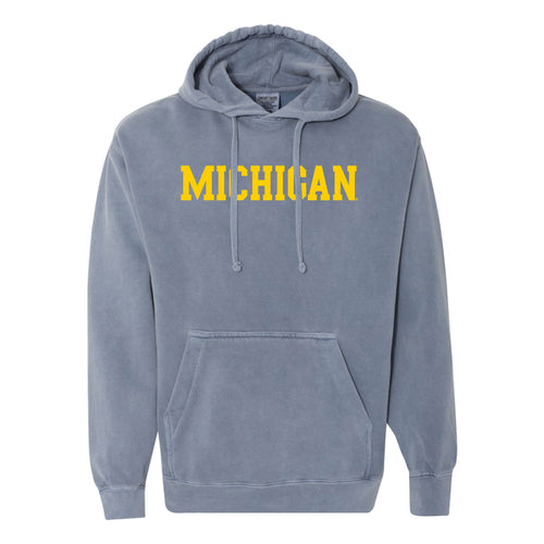 Michigan Basic Block Comfort Colors Hoodie - Blue Jean