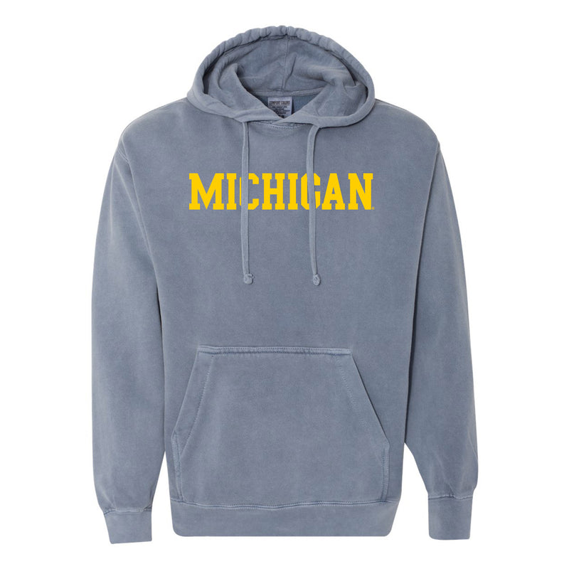 Basic Block University of Michigan Comfort Colors Garment Dyed Hooded Pullover Sweatshirt - Blue Jean