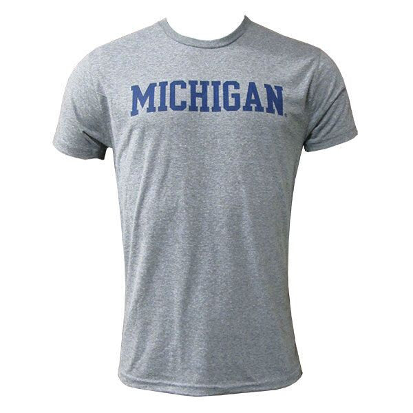 Basic Block University of Michigan Next Level Apparel Triblend Short Sleeve T Shirt - Premium Heather