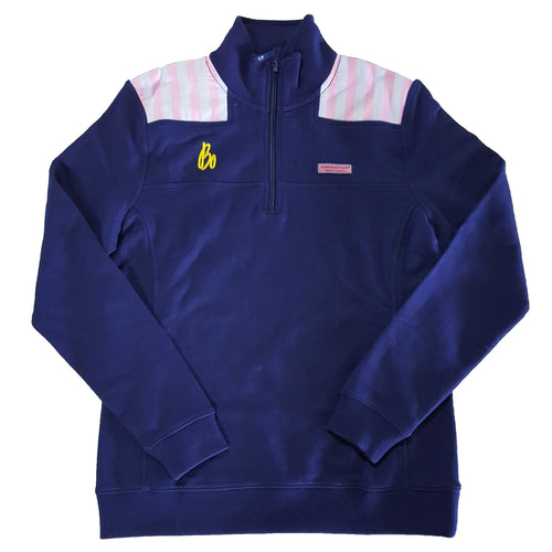 Bo Sig Vineyard Vines Women's Shoulder Stripe 1/4 Zip - Deep Bay/Pink