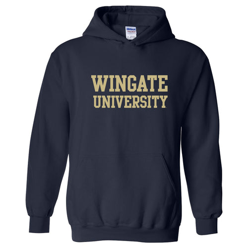 Wingate University Bulldogs Basic Block Heavy Blend Hoodie - Navy