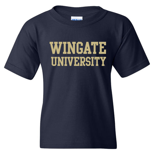Wingate University Bulldogs Basic Block Cotton Youth Short Sleeve T Shirt - Navy