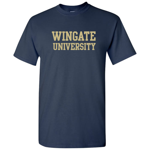 Wingate University Bulldogs Basic Block Cotton Short Sleeve T Shirt - Navy