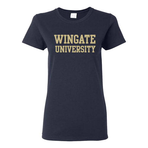 Wingate University Bulldogs Basic Block Cotton Womens Short Sleeve T Shirt - Navy