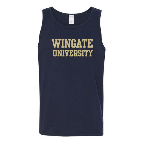 Wingate University Basic Block Bulldogs Heavy Cotton Tank Top - Navy