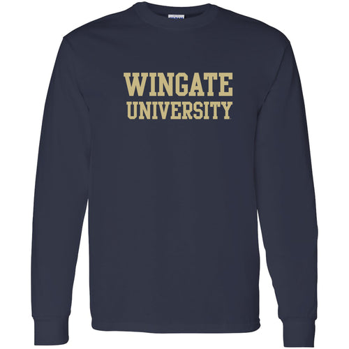 Wingate University Bulldogs Basic Block Heavy Cotton Long Sleeve T Shirt - Navy