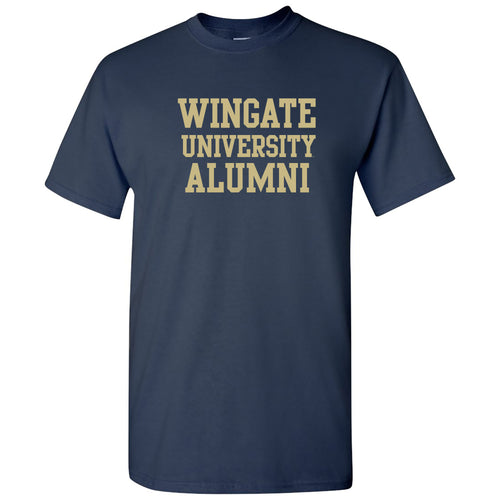 Wingate University Bulldogs Alumni Basic Block Cotton Short Sleeve T Shirt - Navy