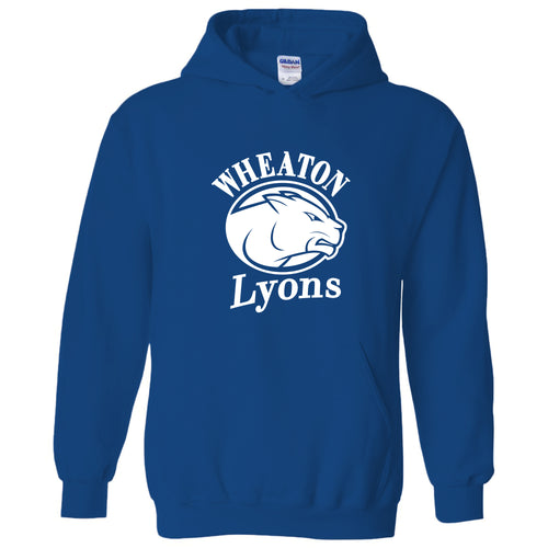 Wheaton College Lyons Primary Logo Hoodie- Royal