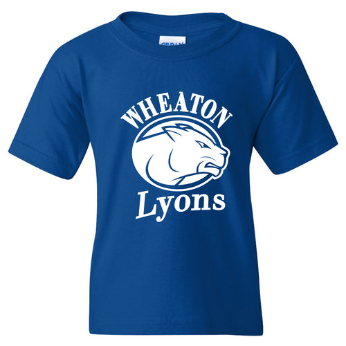Wheaton College Lyons Primary Logo Youth Short Sleeve T Shirt - Royal