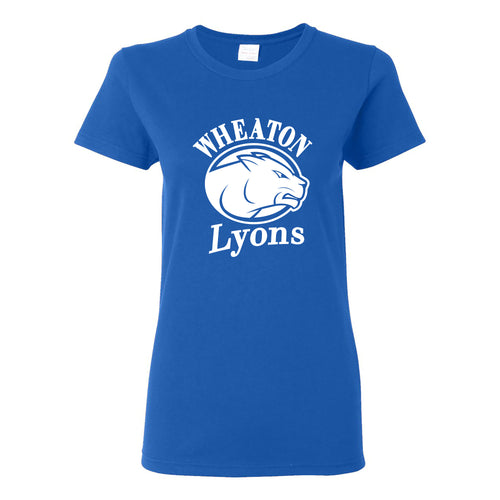 Wheaton College Lyons Primary Logo Short Sleeve Womens T Shirt - Royal