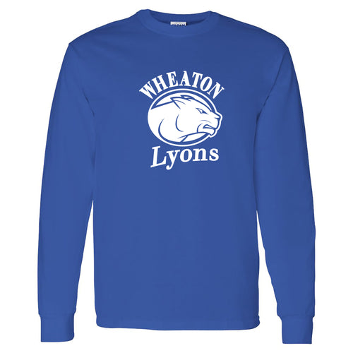 Wheaton College Lyons Primary Logo Long Sleeve T Shirt - Royal