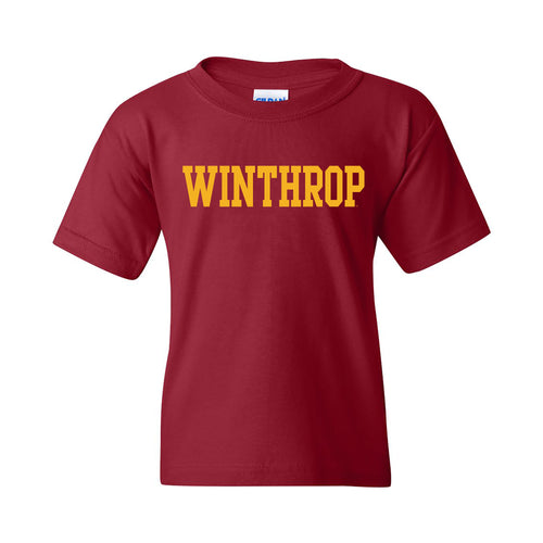 Winthrop University Eagles Basic Block Youth Short Sleeve T Shirt - Garnet