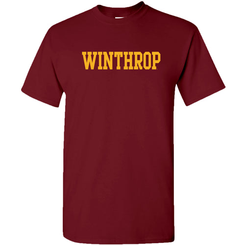 Winthrop University Eagles Basic Block Short Sleeve T Shirt - Garnet