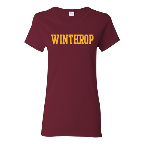 Winthrop University Eagles Basic Block Womens Short Sleeve T Shirt - Garnet