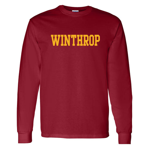Winthrop University Eagles Basic Block Long Sleeve T Shirt - Garnet