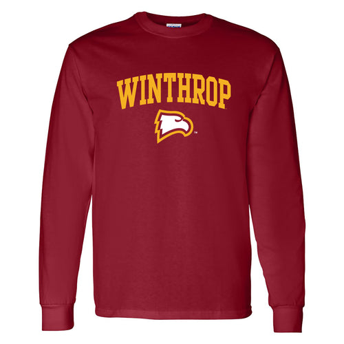 Winthrop University Eagles Arch Logo Long Sleeve T Shirt - Garnet