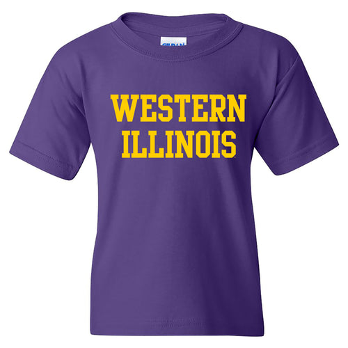 Western Illinois University Leathernecks Basic Block Youth Short Sleeve T Shirt - Purple