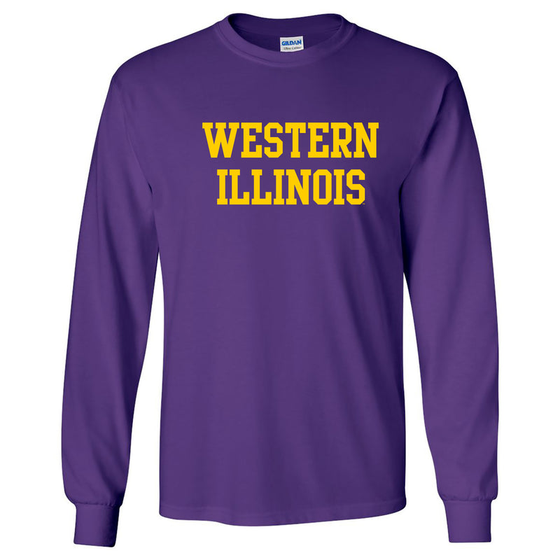 Western Illinois University Leathernecks Basic Block Long Sleeve T Shirt - Purple