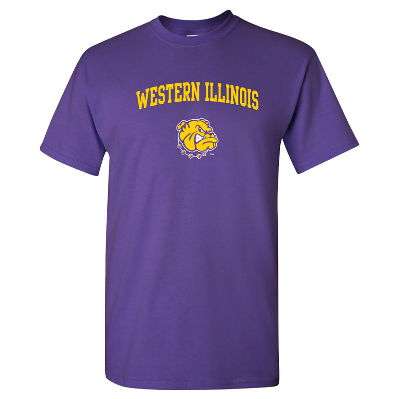 Western Illinois University Leathernecks Arch Logo Short Sleeve T Shirt - Purple