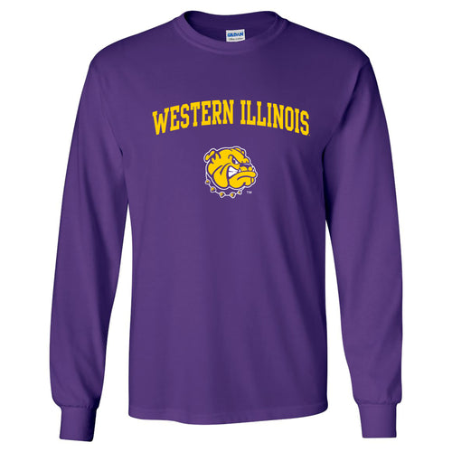 Western Illinois University Leathernecks Arch Logo Long Sleeve T Shirt - Purple