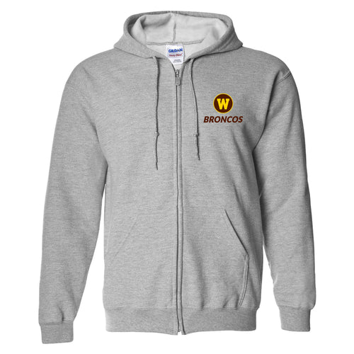 Western Michigan Primary Logo LC Zip Hoodie - Sport Grey
