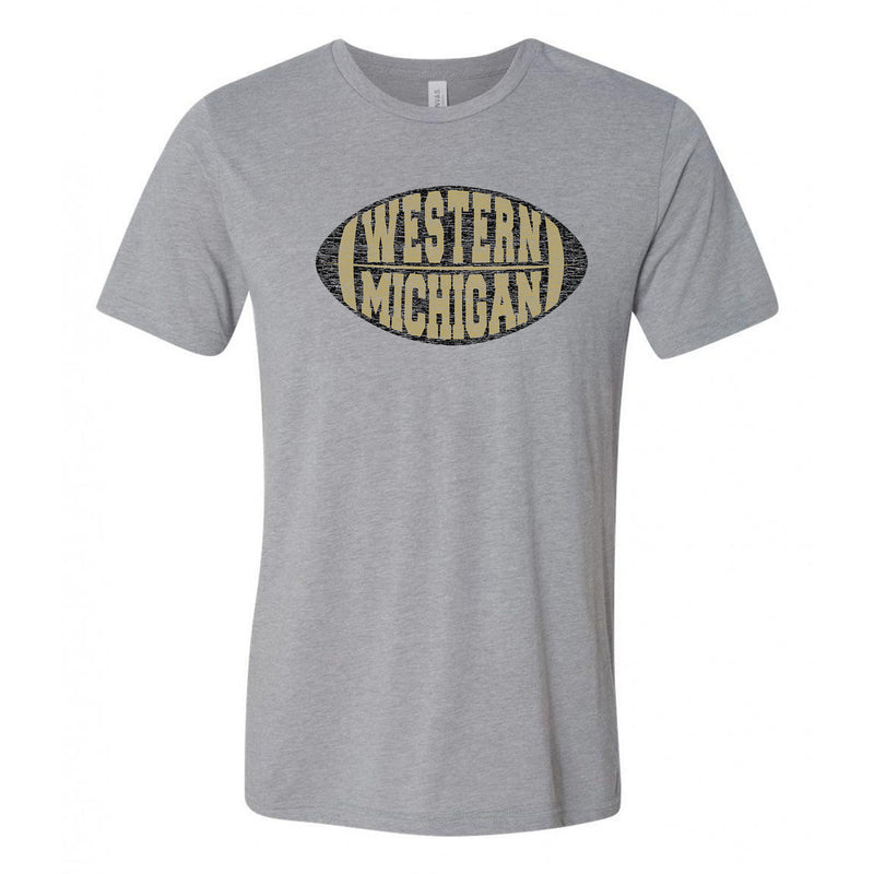 Western Michigan Faded Block Football Canvas Triblend T Shirt - Athletic Grey Triblend