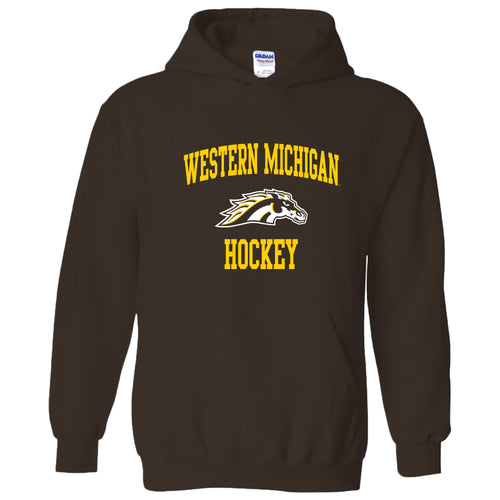Western Michigan University Broncos Arch Logo Hockey Hooded Sweatshirt - Dark Chocolate