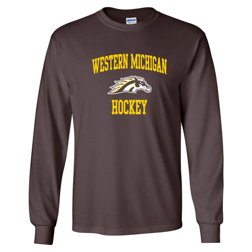 Western Michigan University Broncos Arch Logo Hockey Long Sleeve T Shirt - Dark Chocolate