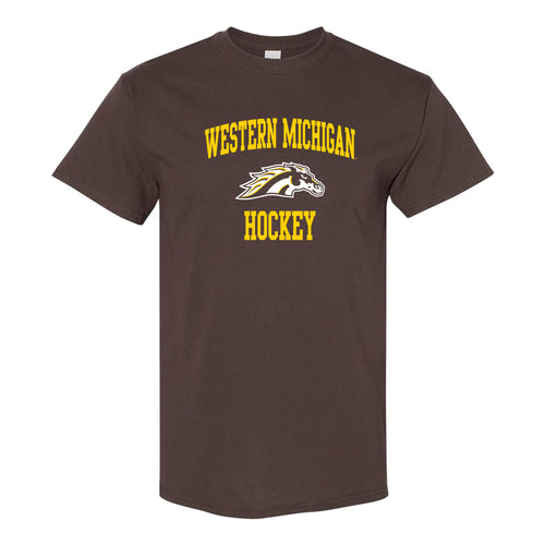 Western Michigan University Broncos Arch Logo Hockey Short Sleeve T Shirt - Dark Chocolate