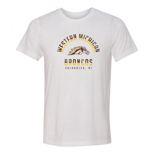 Division Arch Western Michigan Broncos Canvas Triblend Short Sleeve T Shirt - Solid White