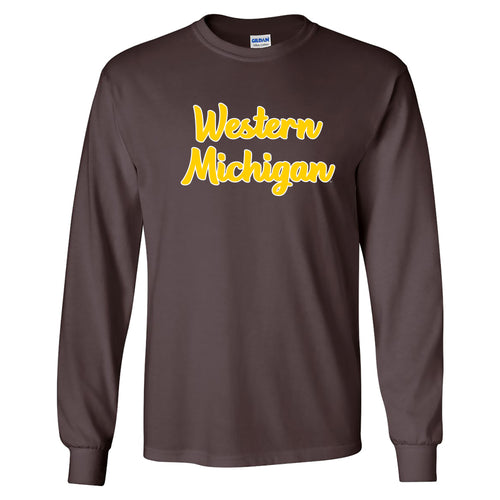 Basic Script Western Michigan Basic Cotton Long Sleeve T Shirt - Dark Chocolate