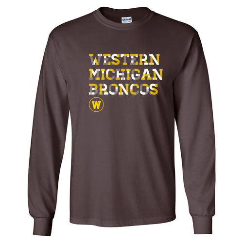 Western Michigan Broncos Patchwork Cotton Long Sleeve T Shirt - Dark Chocolate
