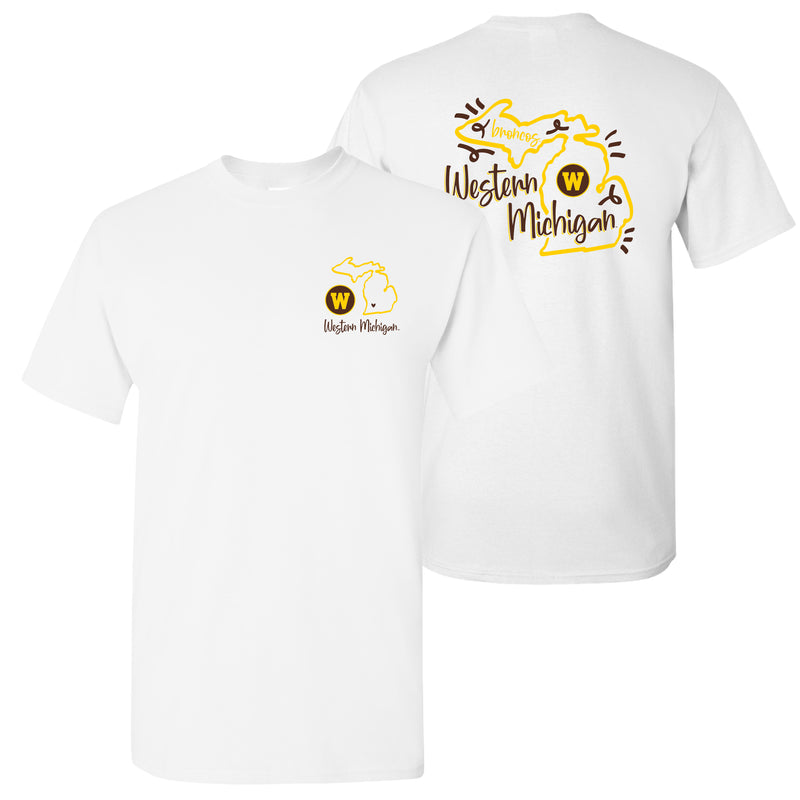 Western Michigan University Playful Sketch Basic Cotton T Shirt - White