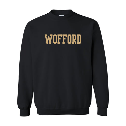 Wofford College Terriers Basic Block Crewneck Sweatshirt - Black