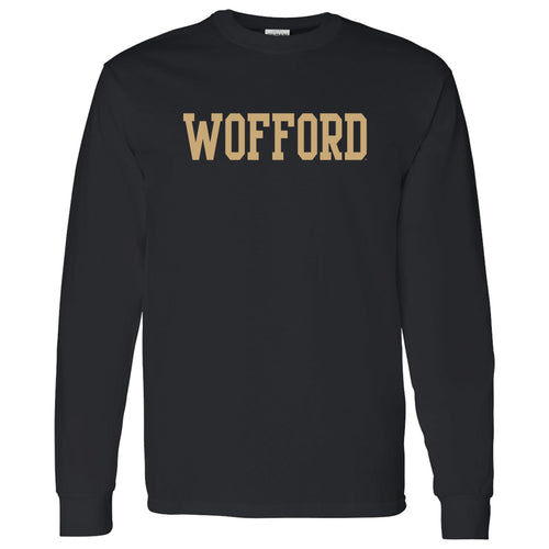 Wofford College Terriers Basic Block Long Sleeve T Shirt - Black