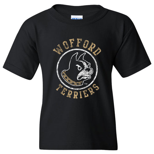 Wofford College Terriers Arch Logo Youth T Shirt - Black