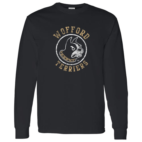Wofford College Terriers Distressed Circle Logo Long Sleeve T Shirt - Black