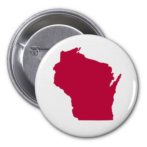 "Wisconsin Outline 1"" Button - Red/White"