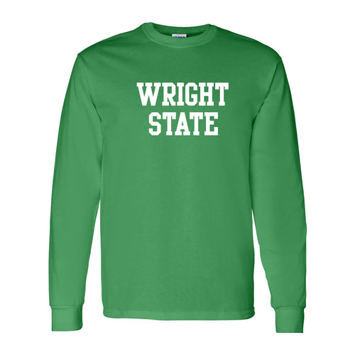 Wright State University Raiders Basic Block Long Sleeve T Shirt - Irish Green