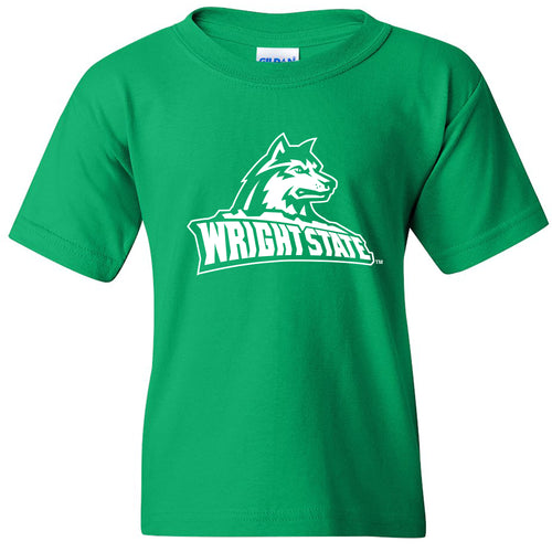 Wright State University Raiders Primary Logo Youth Short Sleeve T Shirt - Irish Green