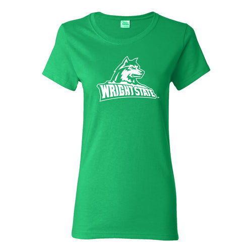 Wright State University Raiders Primary Logo Womens Short Sleeve T Shirt - Irish Green