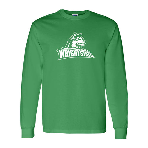 Wright State University Raiders Primary Logo Long Sleeve T Shirt - Irish Green