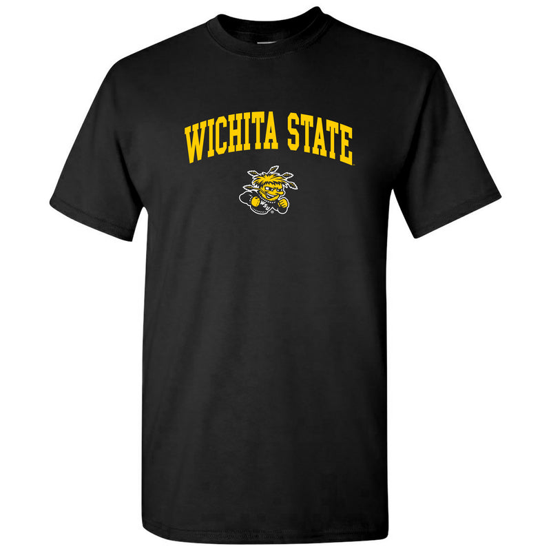 Wichita State University Shockers Arch Logo Short Sleeve T Shirt - Black