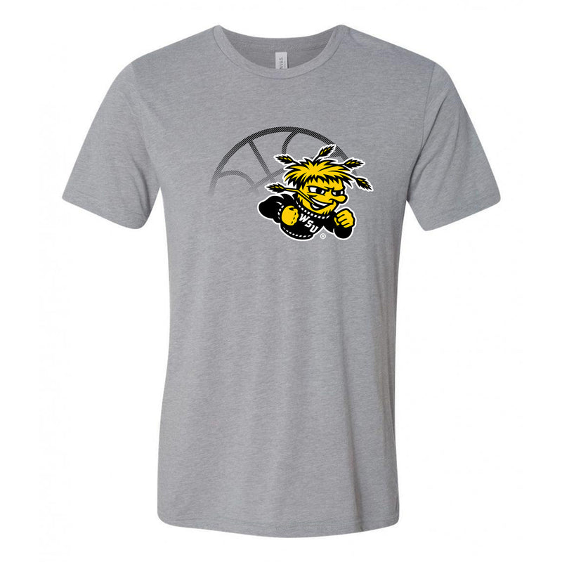 Wichita State University Shockers Fading Basketball Canvas Triblend T-Shirt - Athletic Grey