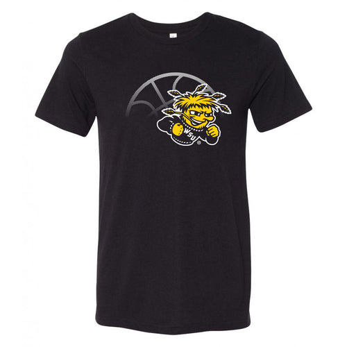 Wichita State University Shockers Fading Basketball Canvas Triblend T-Shirt - Solid Black