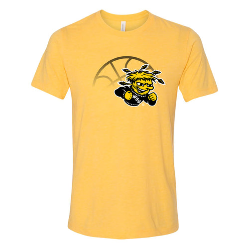 Wichita State University Shockers Fading Basketball Canvas Triblend T-Shirt - Yellow Gold