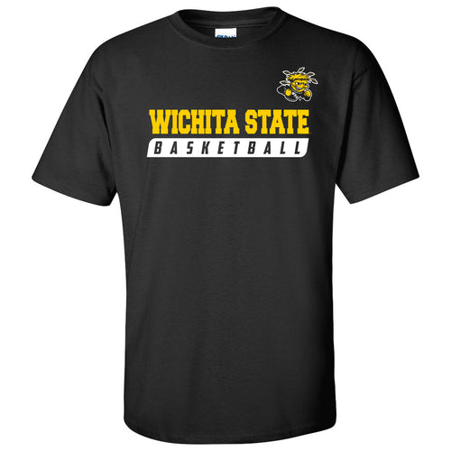 Wichita State University Shockers Basketball Slant Short Sleeve T Shirt - Black