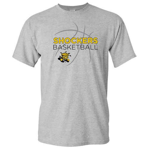 Wichita State University Shockers Basketball Sketch Basic Cotton Short Sleeve T Shirt - Sport Grey
