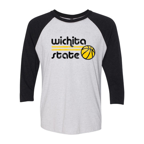 Wichita State University Shockers Basketball Bubble Next Level Raglan T Shirt - Heather White/Vintage Black